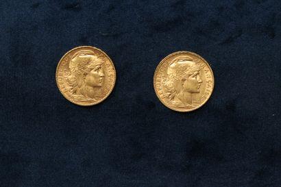 OB Deux pièces en or de 20 francs Coq 1911...