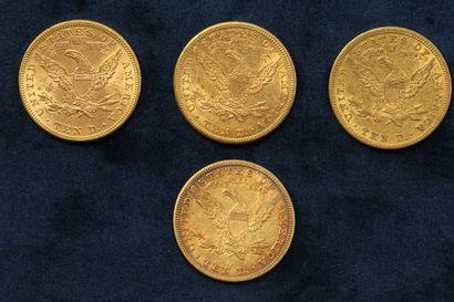 """4 pièces en or de 10 dollars """"Coronet Head Eagle"""" 1881 (Philadelphie) x 2, 1885..."""