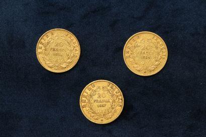 Trois pièces en or de 20 francs Napoléon tête nue 1854 A - 1857 A - 1859 A (atelier...
