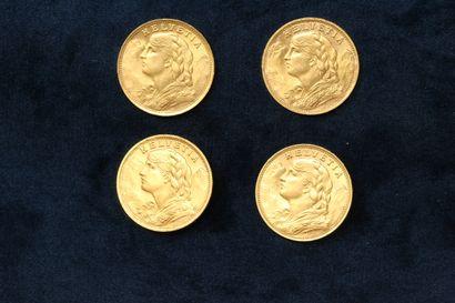SUISSE  Quatre pièces en or de 20 francs...