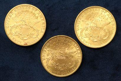 """3 pièces en or de 20 dollars """"Liberty Head double Eagle"""" 1897 (Philadelphie) x 2,..."""
