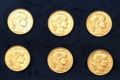Six pièces en or de 20 francs Coq 1912.  TB...