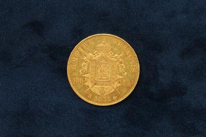 1 pièce en or de 100 Francs Napoléon III tête nue 1858 A  TB à TTB  Poids : 32....