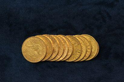 Lot de onze pièces en or comprenant :  - 5 x 20 francs Napoléon III tête nue (1852...