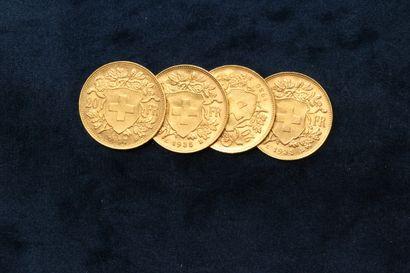 Lot de 4 pièces en or de 20 Francs Suisse Helvetia 1927 B, 1930 B, 1935 L B x2....
