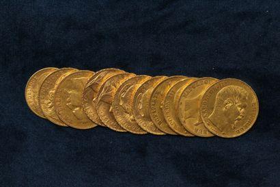 Lot de onze pièces en or comprenant :  -...