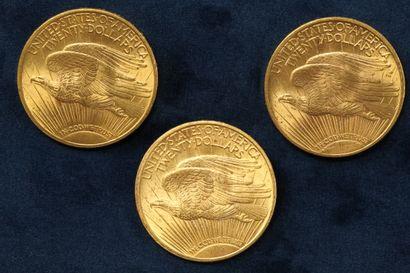 """3 pièces en or de 20 dollars """"Saint Gaudens double Eagle"""" 1922 (Philadelphie) x..."""