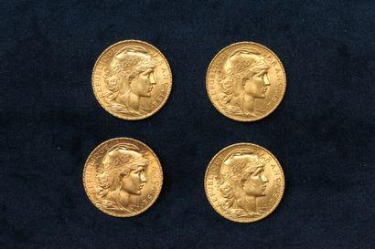 Lot de quatre pièces en or de 20 francs Coq...