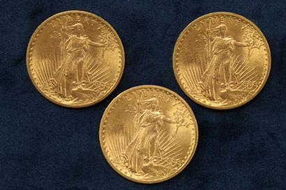 """3 pièces en or de 20 dollars """"Saint Gaudens double Eagle"""" 1908 (Philadelphie) x..."""