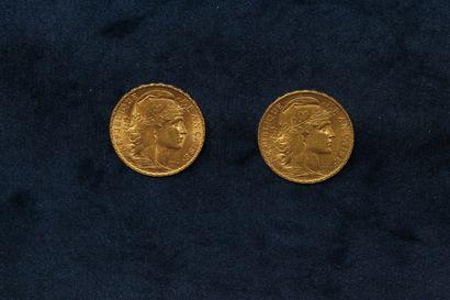2 pièces en or de 20 Francs au Coq 1902,...