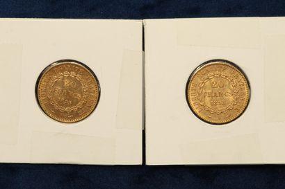 Lot de 2 pièces en or de 20 Francs au Génie 1895 A, 1898 A.  Poids : 12.9g.  TTB...