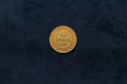 Pièce en or de 20 francs Génie 1878 A (atelier Paris).  Poids : 6.43 g.