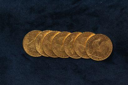 7 pièces en or de 20 Francs au Coq, 1905 x 2, 1906 x 2, 1907, 1908 x 2.  TB à TTB....