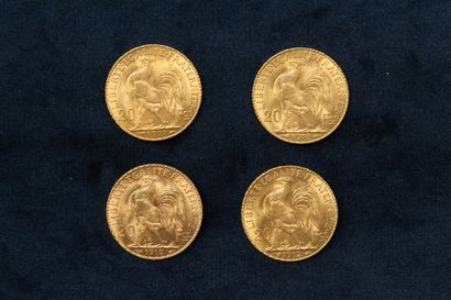 Lot of four gold coins of 20 francs Coq (Liberty, Equality, Fraternity) : 1910 ;...