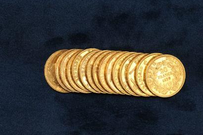 15 gold coins of 20 Francs  1 Genius II Republic...