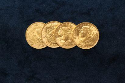 Lot de 4 pièces en or de 20 Francs Suisse...
