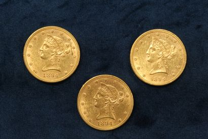 3 $10 gold coins