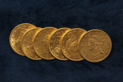 6 Gold 10 dollar coins