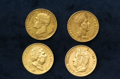 OB Lot of gold coins including :  - 40 francs Louis Philippe type Domard 1833 A...