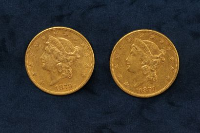 "2 pièces en or de 20 dollars ""Liberty Head double Eagle"" 1879 (San Francisco) x..."