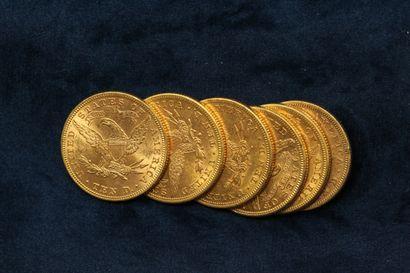 """6 pièces en or de 10 dollars """"Coronet Head Eagle"""" 1881 (Philadelphie), 1882 (Philadelphie)..."""