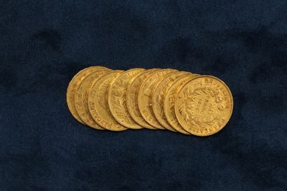 9 pièces en or de 20 Francs Napoléon III tête nue 1852 A x 2, 1853 A x2, 1854 A...