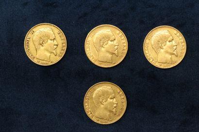 OB Quatre pièces en or de 20 francs Napoléon...