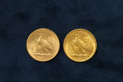 "2 pièces en or de 10 dollars ""Indian Head Eagle"" 1907 (Philadelphie), 1911 (Philadelphie)...."