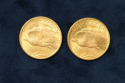 "2 gold coins of 20 dollars ""Saint Gaudens double Eagle"" 1922 (Philadelphia), 1922..."