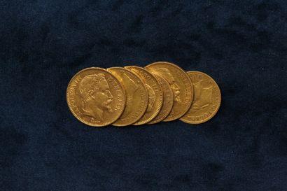 Lot de pièces en or comprenant :  - 2 x 20...