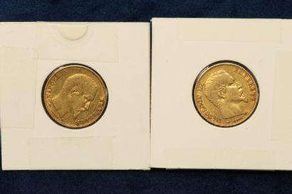 Lot de 2 pièces en or de 20 Francs Napoléon...
