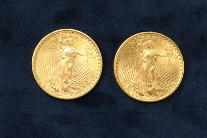2 pièces en or de 20 dollars