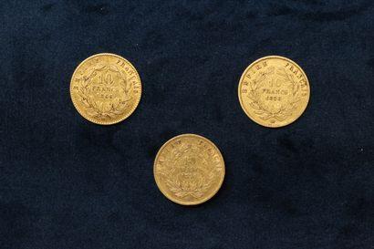 OB Lot de pièce en or comprenant :  - 10 francs Napoléon III tête laurée 1866 BB...