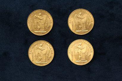 Quatre pièces en or 20 francs Génie IIIè...