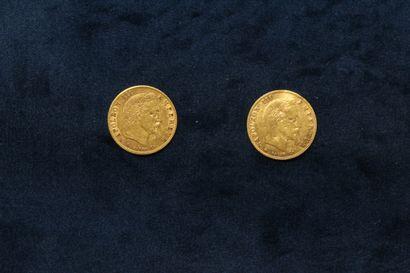 OB Deux pièces en or de 5 francs Napoléon...