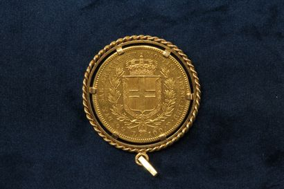OB 100 lira gold coin, Charles Albert of Sardinia, (1836 P)  Pendant in 18K (750)...