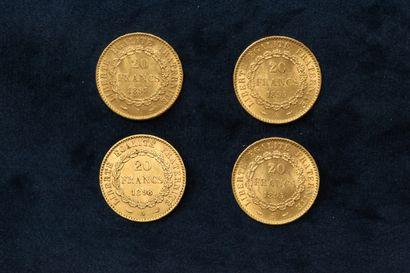 Four gold coins 20 francs Génie IIIè République 1895 A (x2) - 1897 A - 1898 A (Paris)....
