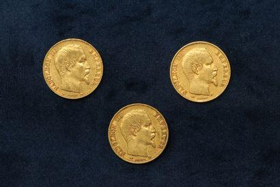 Trois pièces en or de 20 francs Napoléon...