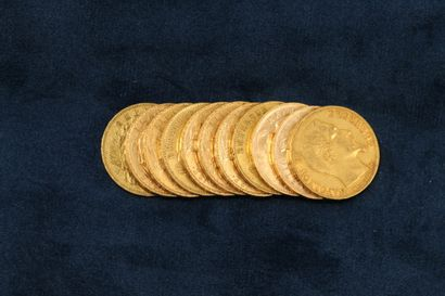 11 gold coins of 20 francs :  3 Napoleon...