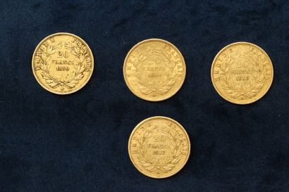 OB Four gold coins of 20 francs Napoleon III bare head 1857 A ; 1858 A ; 1859 BB...