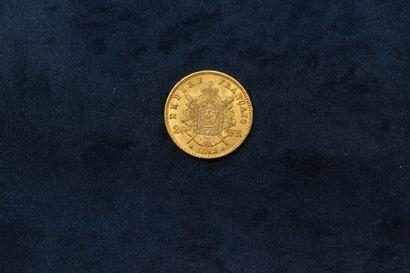 Gold coin of 20 francs Napoleon head laurel 1869 A (workshop Paris).  Weight : 6.45...