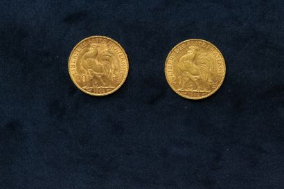 2 gold coins of 20 Francs au Coq 1902, 1904.  Weight : 12.9g.