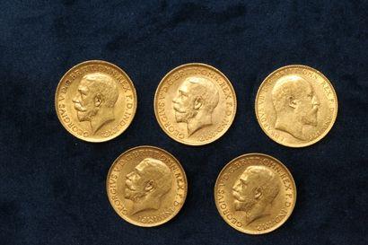 Lot de 5 Souverains en or Edouard VII 1910,...