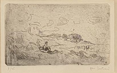 BERTRAM Abel, 1871-1954,  La sieste,  eau-forte...