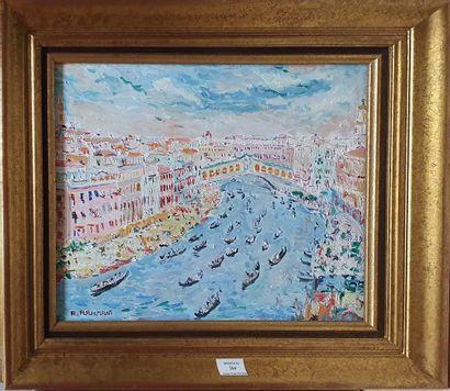 RAHMANI A., XXe siècle,  Venise, 1992,  huile...