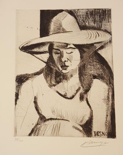 DESNOYER François (1894-1972)  Femme  gravure,...