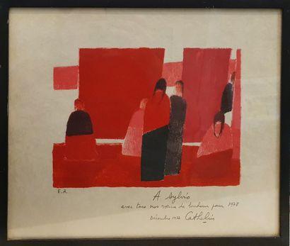 CATHELIN Bernard (1919-2004)  marché mexicain,...
