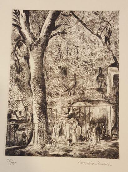 DAVID Hermine (1886-1970)  Au jardin des...