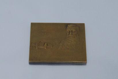 Médaille de table rectangulaire en bronze...