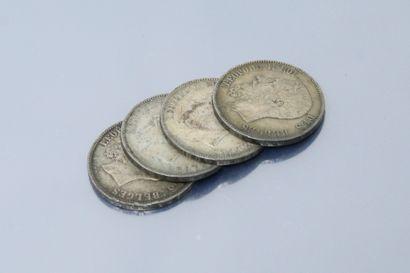 Quatre pièces en argent de 5 francs de type...
